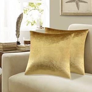 Gold Velvet Soft Pillow Covers,Set of 2